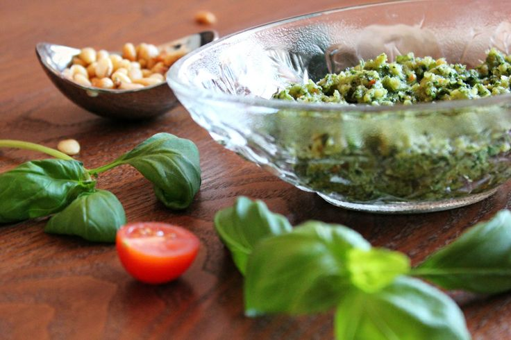 Homemade Pesto with Parmigiano Reggiano and Toasted Pine Nuts. I'm truly in love with this recipe and will most definitely be making more pe...
