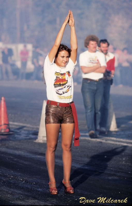Funny Car helper - hot pants & funny cars just seemed a natural team...