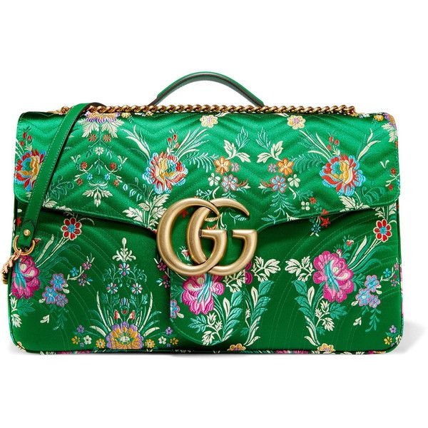 GucciGg Marmont Maxi Quilted Floral-jacquard Shoulder Bag (€2.355) ❤ liked on Polyvore featuring bags, handbags, shoulder bags, green, floral handbags, shoulder handbags, gucci shoulder bag, gucci purse and gucci handbags