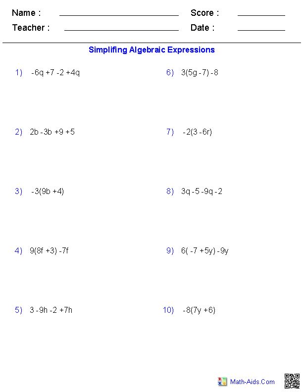 Printables Simplifying Algebraic Expressions Worksheets 1000 ideas about simplifying algebraic expressions on pinterest combining like terms and writing algebrai