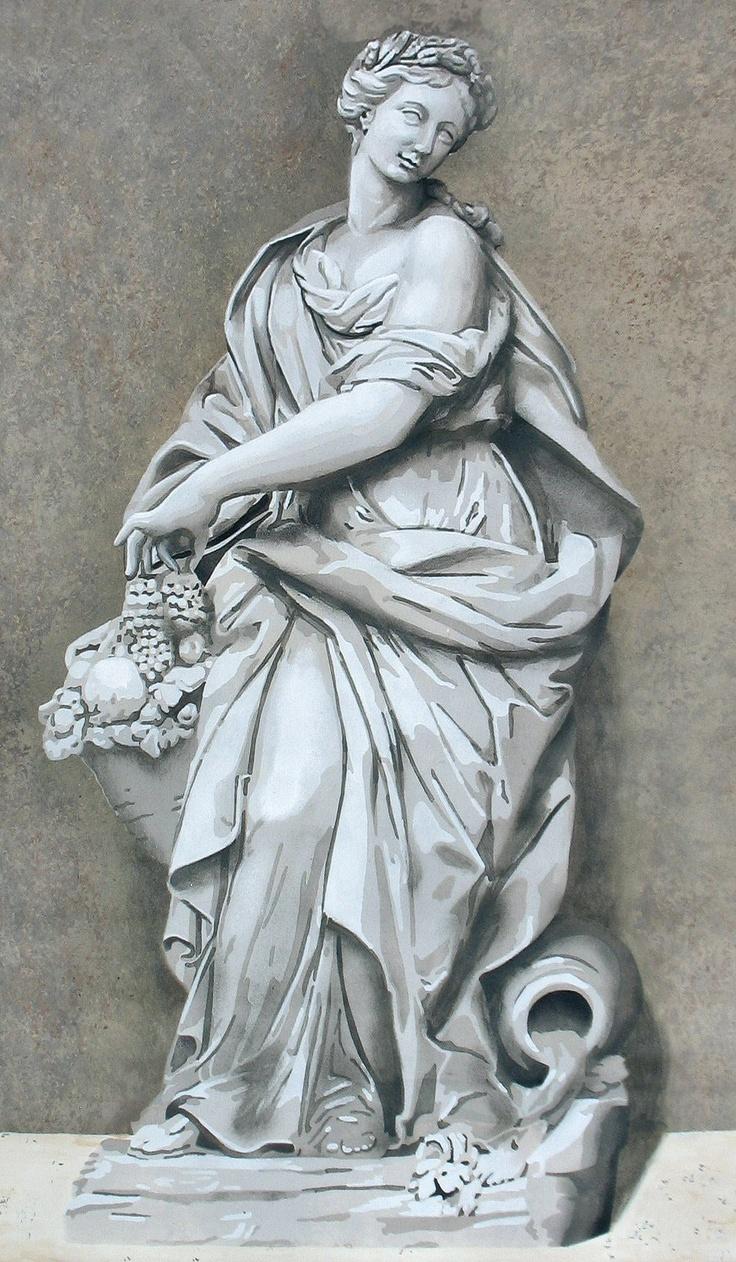 Abundance statue: Trompe L'Oeil, Hap Dan, Silent Citizens, Арт Класс Виньет, Paint Inspirations, Wall Decoration, Architectural Elements, Putti Muse, Abundance Statue