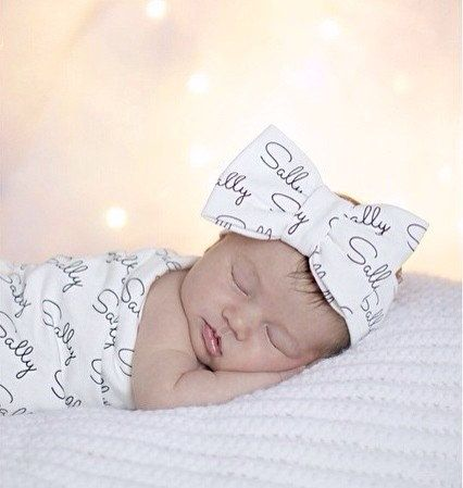 Personalized Swaddle Blanket and Bow Turban by KennedysCollections  How cute for the baby's day of birth pics!!!