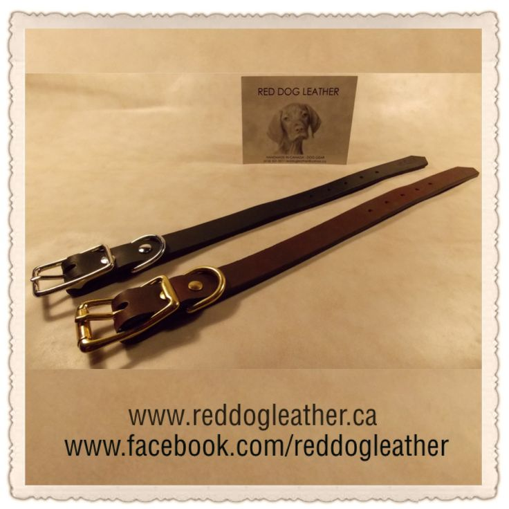 """Red Dog Leather ~ Our Regular Collar are made using harness leather, with a roller buckle & a 'D' ring. *NO TAX & $15 from your purchase going FMHR.                         ~Sizes & Prices: 3/4"""" & 1"""" ~                        Small 11""""-15""""--3/4""""~$35 & 1""""~$40                 Med. 14""""-18""""-- 3/4""""~$40 & 1""""~$45           Large 18""""-22""""--3/4""""~$45 & 1""""~$50               X Lrg. 22""""-26""""--3/4""""~$50 & 1""""~$55  *Available in Brown & Black.                   *Shipping available        *PayPal…"""