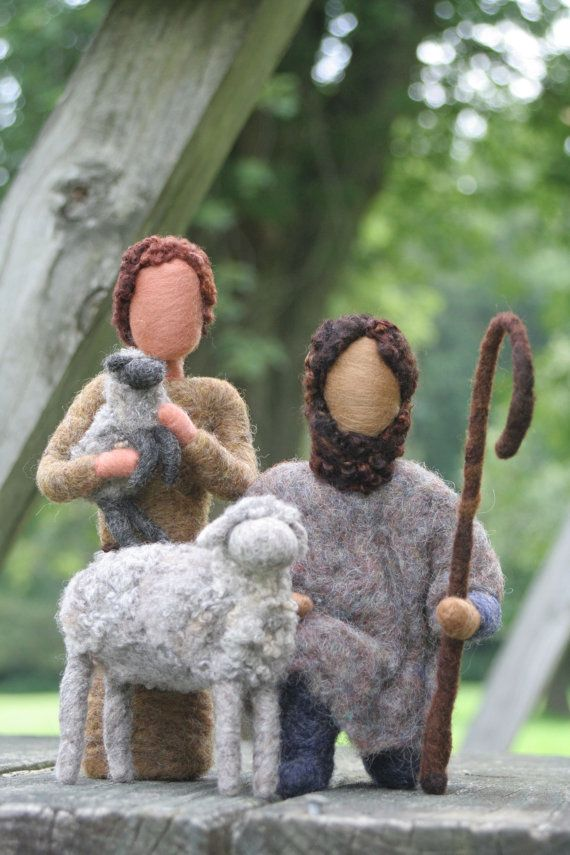 Nativity Set- Needle Felted Shepherds and Sheep/ Shepherd Boy~ These would be so perfect for my little Shepherds and Sheep tree in the hall!