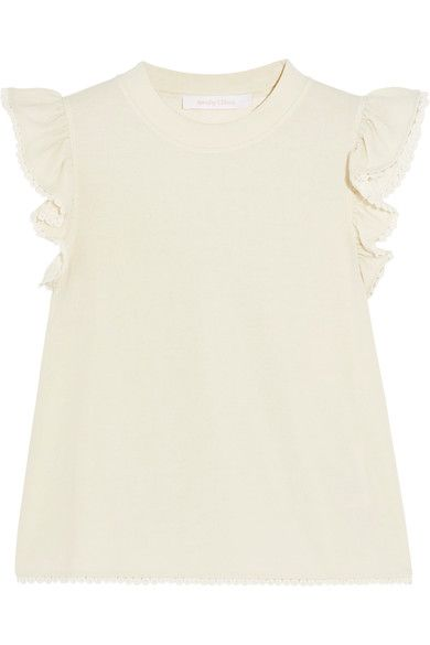 See by Chloé - Ruffled Jersey Top - Ecru - x large
