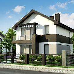 Dom na wąską działkę z dachem 2-spadowym, pełnym piętrem i gabinetem w parterze...