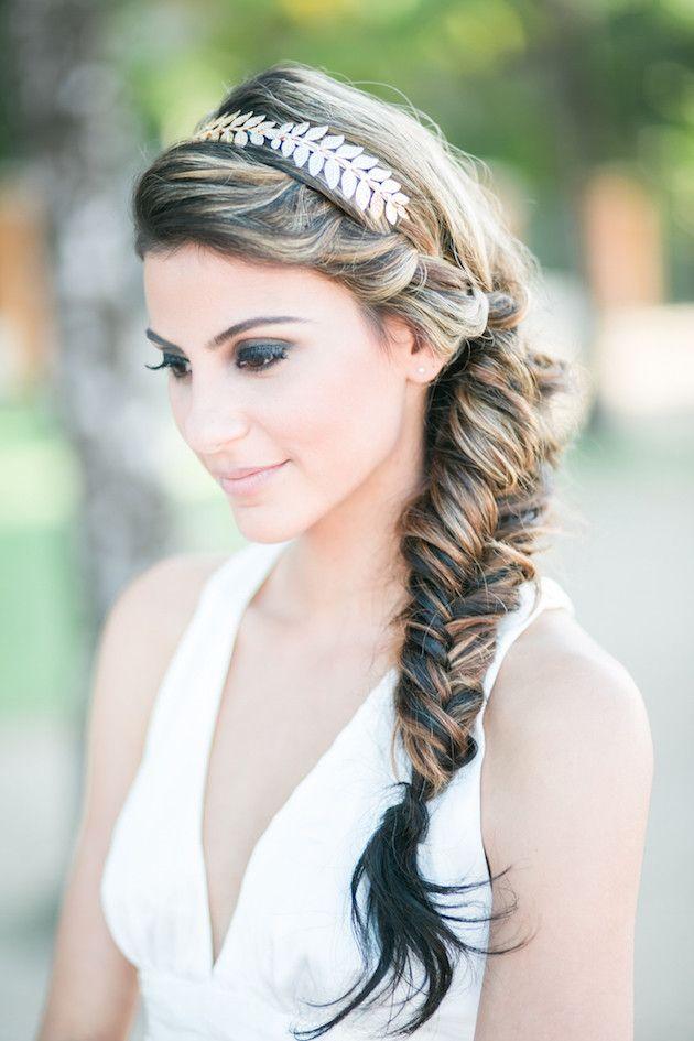 Simple Gold Hair Accessories can make a big impact!   Beach Wedding Inspiration