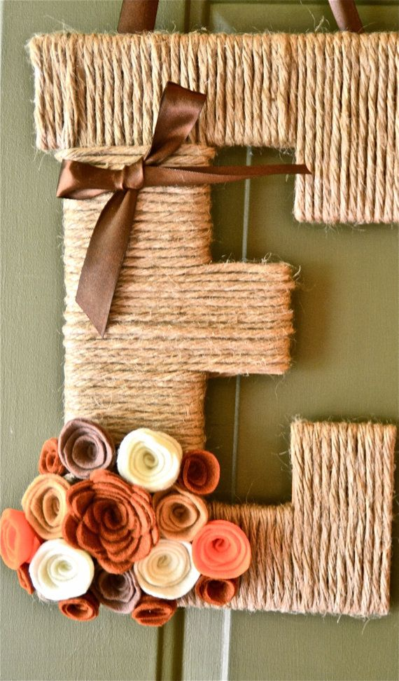 Fall Twine Personalized Monogram reath w/ handcrafted flowers and ribbon.  also think game day colors :)