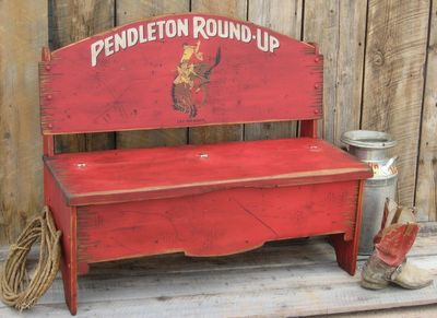Pendleton Round Up Wood Storage Bench - Rodeo themed furniture