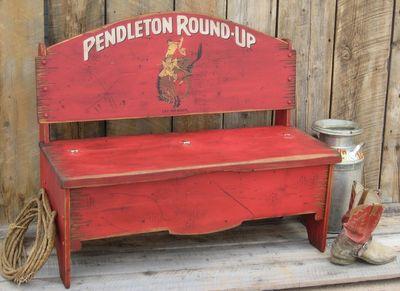 Pendleton Round Up Wood Storage Bench - Rodeo themed furniture