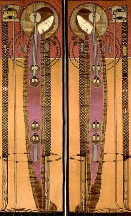 Margaret Macdonald embrodiered panels Charles Rennie Mackintosh