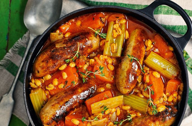 For a hearty family dinner try this pearl barley & sausage stew – it's perfect for sharing on chilly nights. Find more sausage recipes at Tesco Real Food.