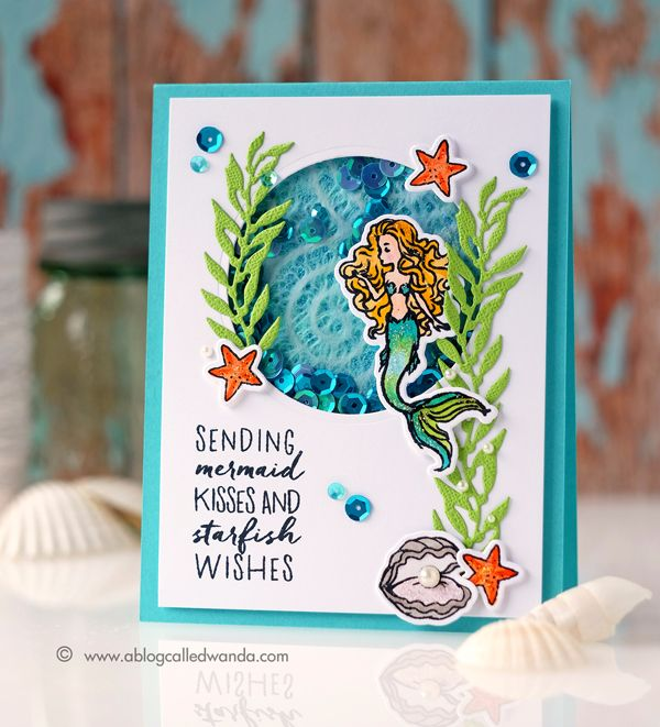 My Monthly Hero May 2017 Hero Arts Card Kit. Mermaids and Ocean theme. Copic Coloring. Project by Wanda Guess