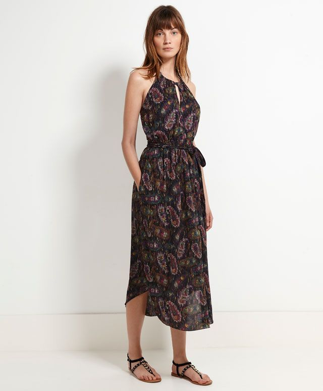 Long halter neck dress with dotted paisley print - OYSHO