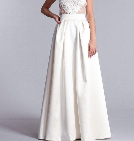 Bridal skirt, Long white skirt, high waist skirt, Bridal separates, Long bridal skirt in white or Ivory  – GG's DESIGNS