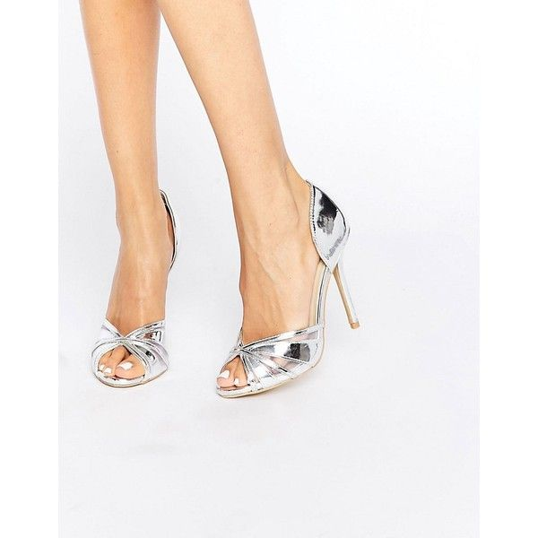 True Decadence Silver Metallic Heeled Peep Toe Sandals (€15) via Polyvore featuring shoes, sandals, silver, high heel peep toe shoes, peep toe shoes, slip-on shoes, high heel shoes and metallic high heel sandals