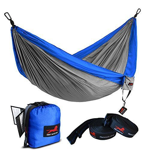 "Honest Outfitters Single Camping Hammock With Basic Hammock Tree Straps,Portable Parachute Nylon Hammock for Backpacking travel Royal/Grey 55""W x 108""L"