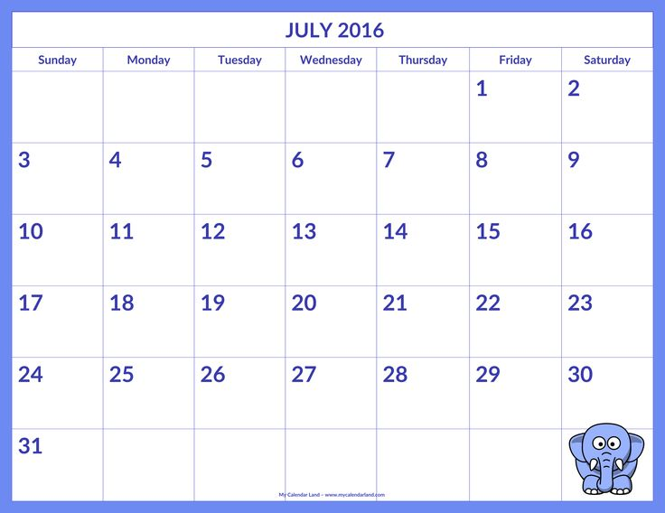 Calendar for July 2016 Printable