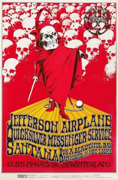 Jefferson Airplane - Santana - Quicksilver - 1970 - Winterland Concert Poster