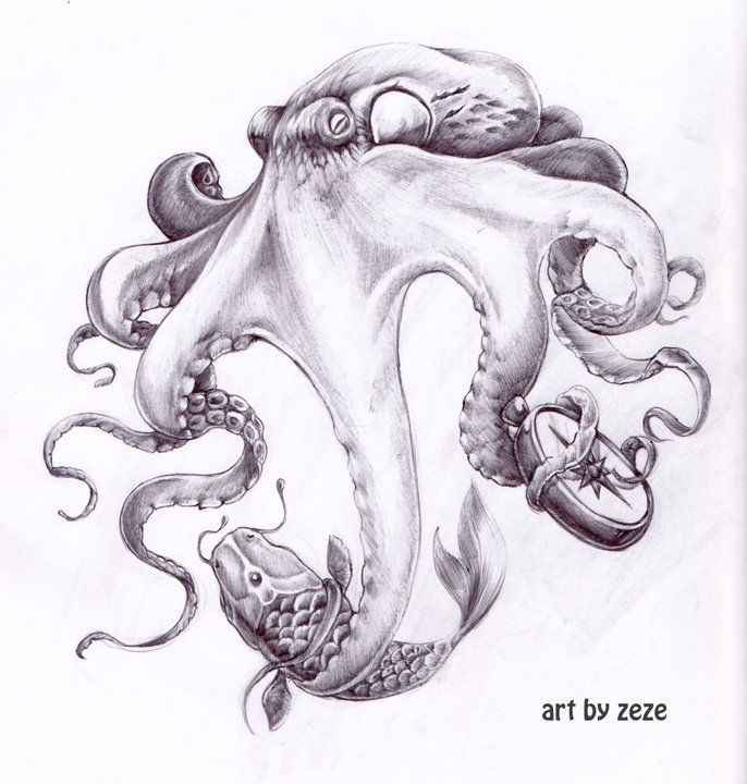 octopus design for leg tattoo by ~ZOOMZOOMMM on deviantART