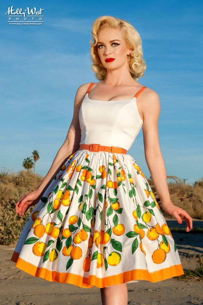 Sixties Style Swing Day Dress in Orange Border Print Cotton Sateen | Pinup Girl Clothing