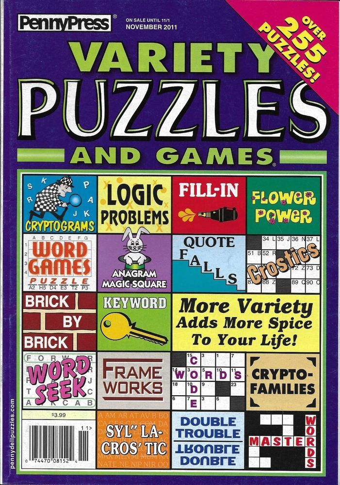 Penny Press Magazine Variety Puzzles And Games Logic Problems Word Seek Keyword Logic Problems Logic Hidden Words