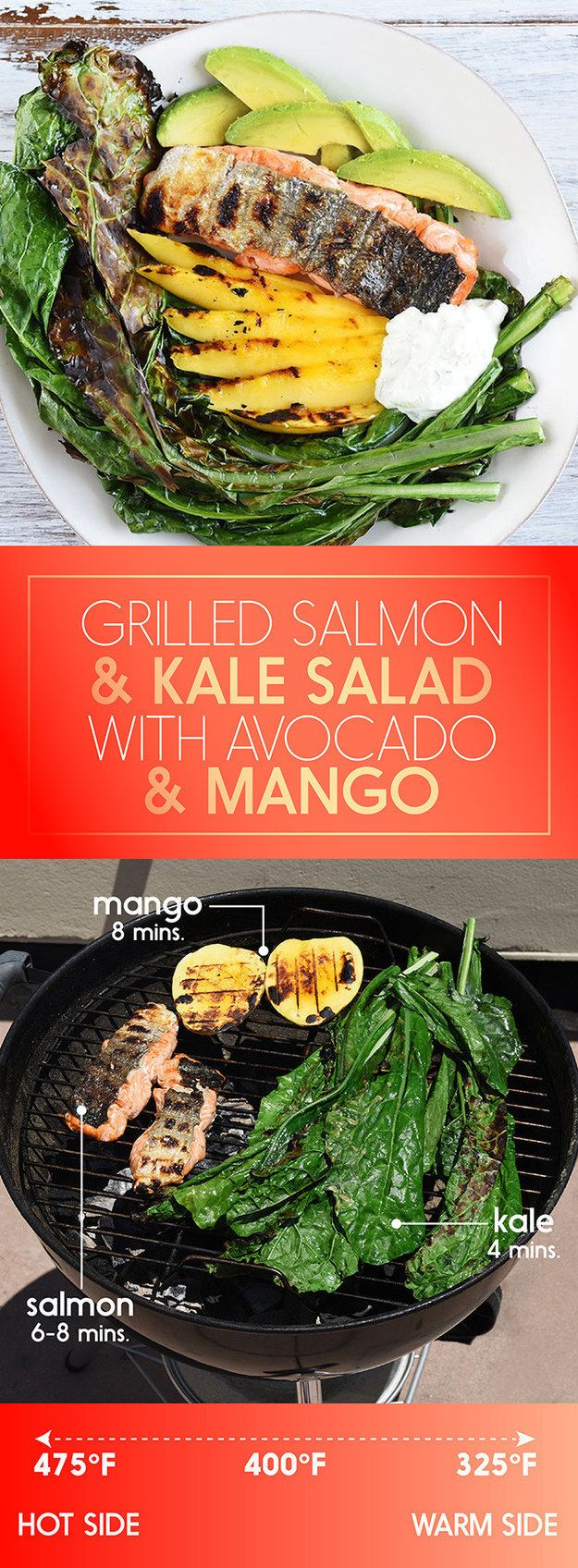 Grilled Salmon and Kale Salad with Mango and Avocado | 5 30-Minute Dinners To Grill This Week
