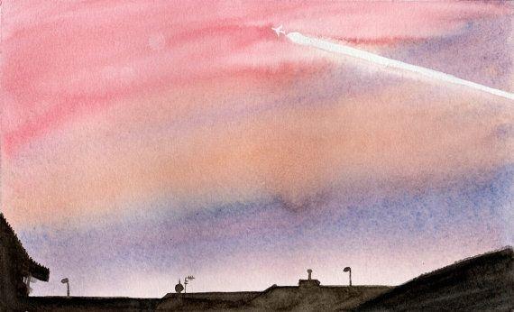 Paesaggio urbano dipinto in acquerello all'alba sui di MarMusArt