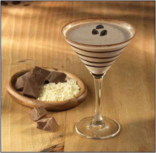 Mocha Martini (my edited version): 3 parts Van Gogh double chocolate vodka, 2 parts Kahlua, 1 part half & half