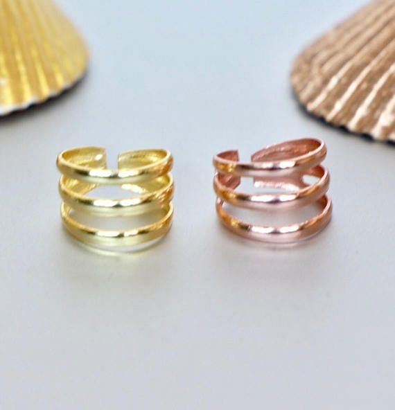 Toe Rings Set Gold And Rose Gold Toe Ring Simple And Pretty