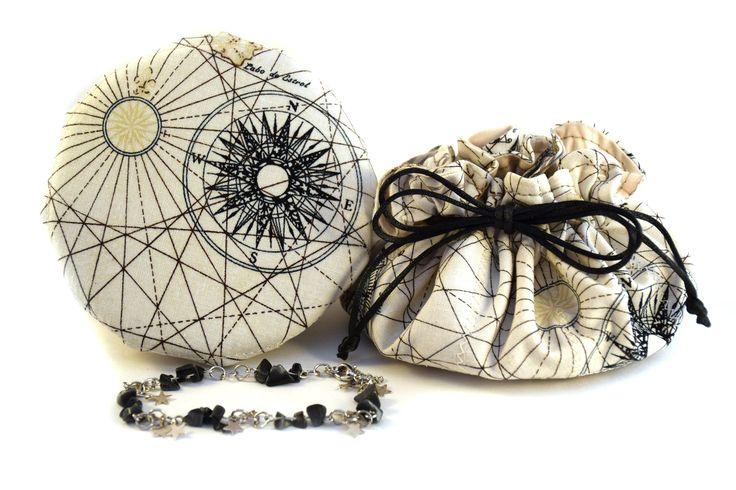 Bourse à bijoux, Sac organisateur, Voyager avec vos bijoux séparés en sécurité, 8 pochettes, Bateau, voilier, boussole, Bleu marin