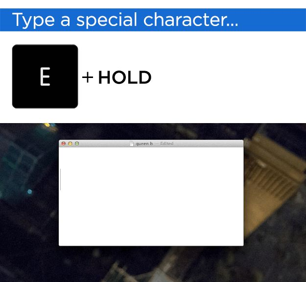 Mac Hacks - Works for any letter with special characters; I, O, U, etc. And now you owe me.