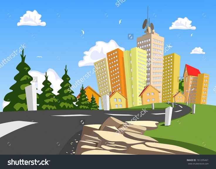 Vector City Surrounded By Nature Landscape. Vector Art - 161295461 : Shutterstock