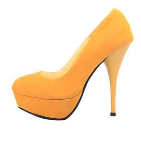 Wholesale Waterproof increased high-heeled shoes yellow $13.12