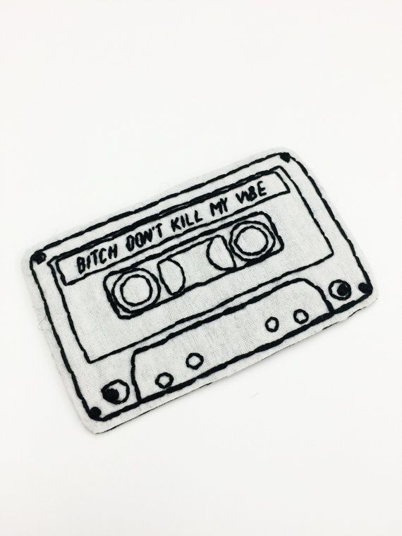Kendrick Lamar no matar vibe hip hop mix tape mano coser de rap bordado blanco y negro accesorio de parche parche tumblr