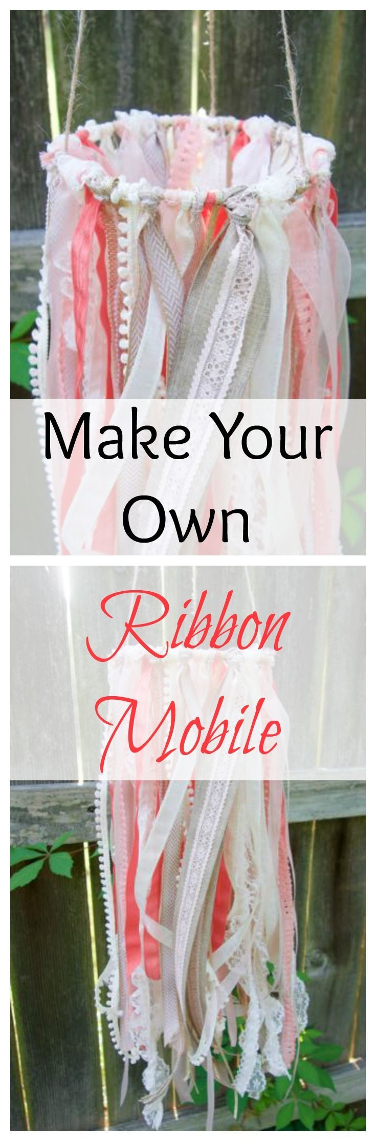 This DIY ribbon mobile is such a cute and simple craft. Make one for your baby's nursery, or your child's room. It's perfectly delicate and whimsical.