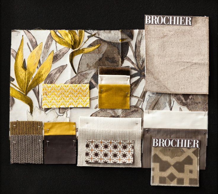Gold, Ivory and Brown #moodboard with stunning #floral and #geometric patterns.