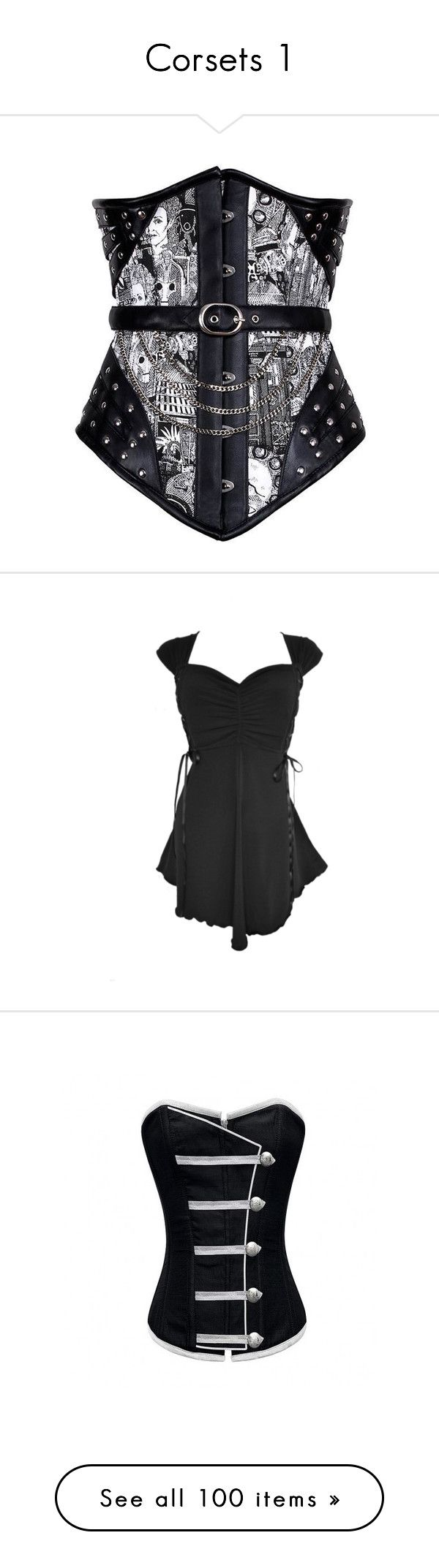 """""""Corsets 1"""" by xblackbettyx ❤ liked on Polyvore featuring corsets, tops, dresses, victorian corset, plus size corset, plus size corset tops, plus size tops, goth top, corset and steampunk"""