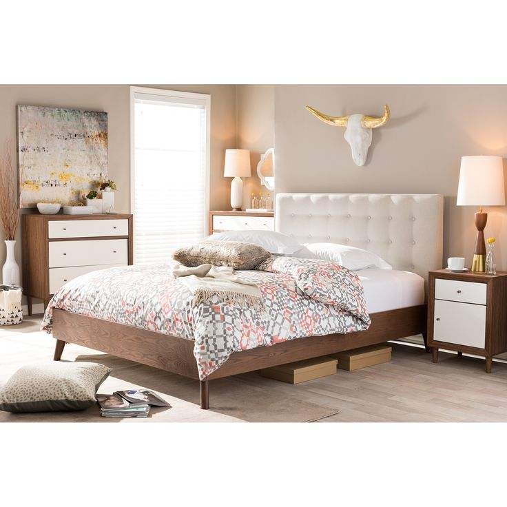 the alinia full or queen size fabric upholstered platform bed in light beige has a beautiful