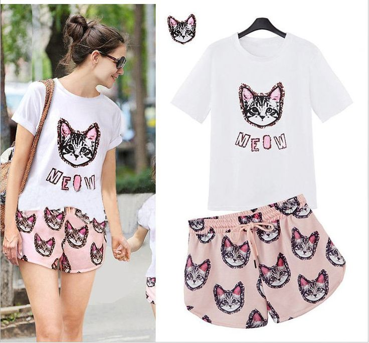 FF European  style fashion Printed kitty fashion casual T-shirt + shorts suit #FanofFashion