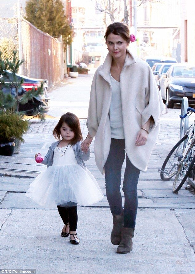 Birthday girl: Keri Russell arrived to Vinegar Hill House holding her daughter Willa's han...