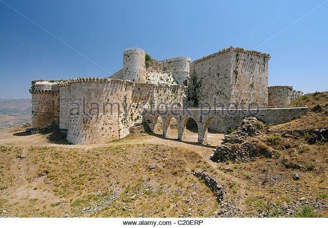 Krak des Chevaliers, Crusader castle in Syria - Stock Image