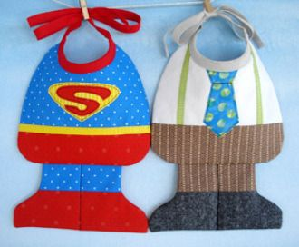 Super Baby & Little Man Bibs   YouCanMakeThis.com - what an adorable idea! (pattern for sale)