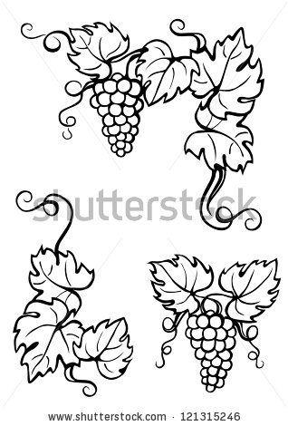 vine leaves corner, black-white by dokoupilova, via Shutterstock