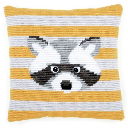 Featuring the cutest little Racoon, this angled clamping stitch cushion panel kit from Vervaco features a yellow and white striped background with a Racoon's adorable face in the middle.