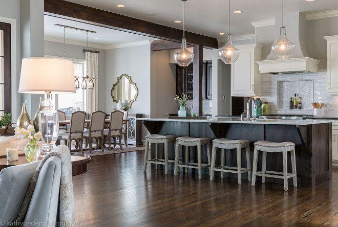 Open Concept Kitchen. Flooring is white oak random width wood floors with dark stain. Open Concept Kitchen design. Open Concept Kitchen, family room and dinin room. Open Concept Kitchen #OpenConcept #OpenConceptKitchen Restyle Design, LLC.