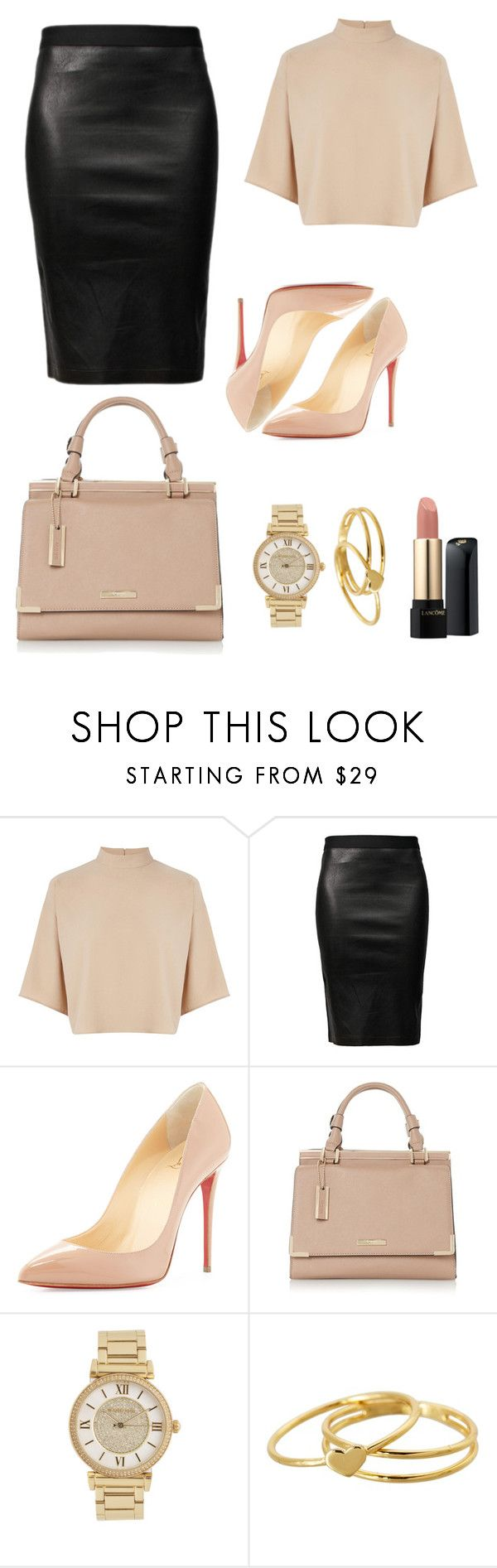 """#sananas2106 YTB"" by mathildeparislove ❤ liked on Polyvore featuring Warehouse, Helmut Lang, Christian Louboutin, Michael Kors, Gorjana and Lancôme"