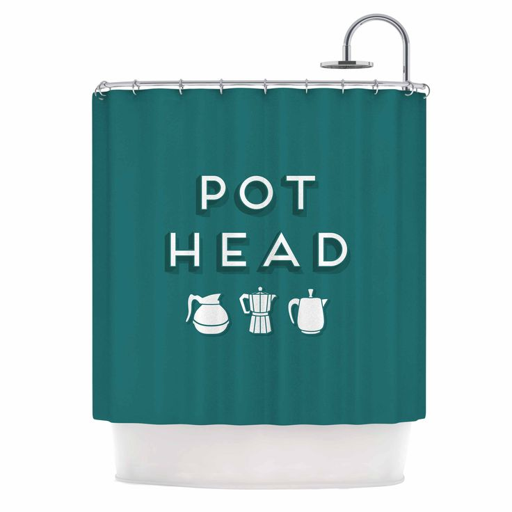 "Busy Bree ""Pot Head"" Teal Digital Shower Curtain"