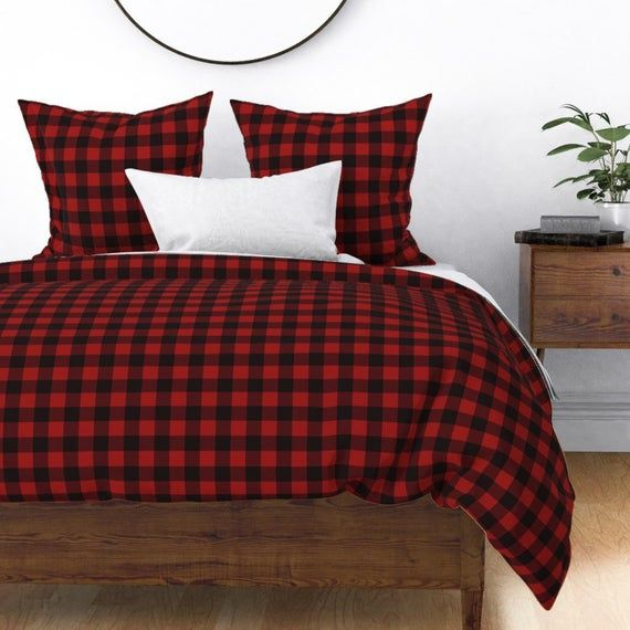 Red Buffalo Plaid Duvet Cover Buffalo Plaid Red By Portage And Main Buffalo Check Cotton Sateen Duvet Covers Duvet Red And Black Plaid