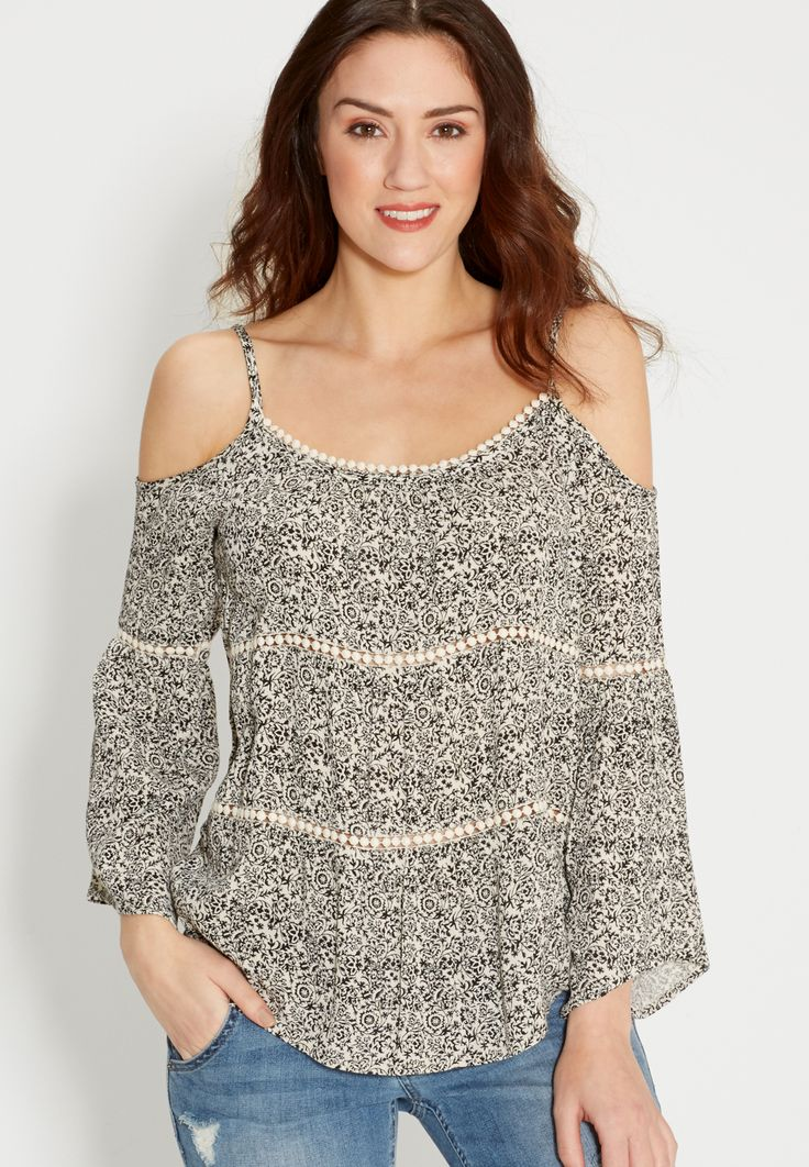 cold shoulder top in floral print with pompom crochet (original price, $34.00) available at #Maurices